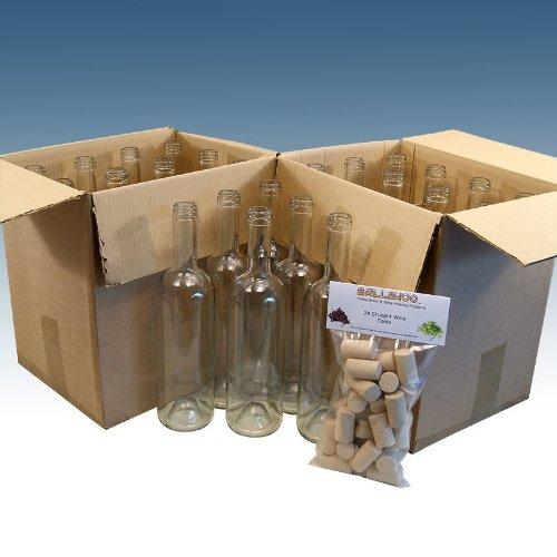 Home Brew & Wine making - Pack Of 24 Clear Wine Bottles With Balliihoo® Corks