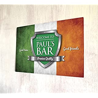 Artylicious Personalised Welcome Irish flag bar A4 metal sign plaque wall art