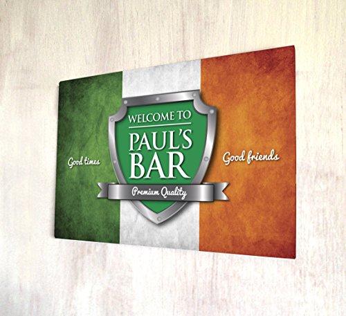 Benvenuto personalizzato bandiera irlandese, formato A4in metallo targa da parete - Colori Bandiera Irlandese