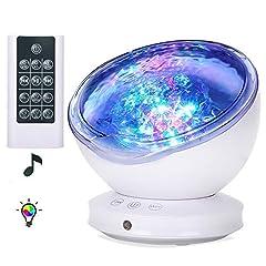 Idea Regalo - (Versione migliorata) Lampada Proiettore Oceano Luce Notturna led con timer e Controllo Remoto, Proiettore Luci Bambini con 8 Modalità Colori,6 Suoni Musicali,Luminosità Volume Angolo Regolabile