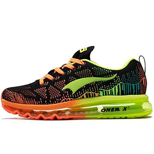 Onemix Air Laufschuhe Herren Straßenlaufschuhe Sneaker mit Luftpolster Turnschuhe Sportschuhe, Black Fluorescent green, 43 -