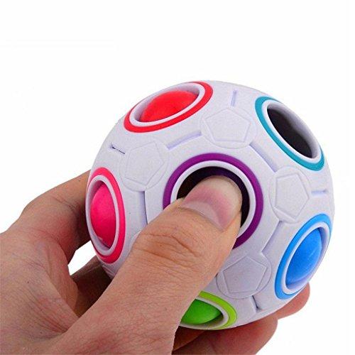QHJ Prime 2017 Pop Rainbow Magic Ball Kunststoff Würfel Twist Puzzle Spielzeug für Kinder pädagogischen Spielzeug Teenager Adult Stress Reliever (Rainbow) -