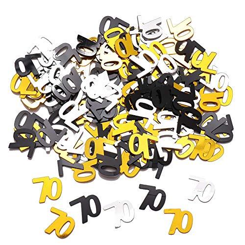 Templom SIX Alles Gute zum Geburtstag Metallfolie Konfetti Schwarz Gold und Silber bunte Pailletten für die Tischdekoration, leuchten Sie Ihre Geburtstagsfeier, 1 Unze(70th)