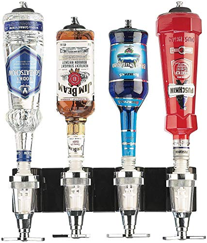 Monsterzeug Bar Butler für Vier Flaschen, Schnapsspender - Flaschenhalter für die Wand, Getränkeportionierer, Dosierer Wandmontage, Flaschenständer, Flaschenbutler