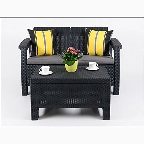 JUSTyou Corfu Sofa Couch Gartenbank + Tisch in Rattan-Optik Anthrazit Grau