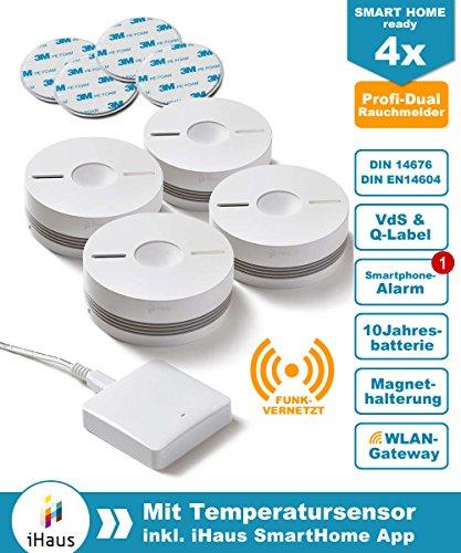 Rauchmelder 4er Set (VdS - DIN EN 14604) - Dual und Funk Vernetzbar + WLAN Gateway + Magnethalterung + Lithium 10 Jahres Batterie von iHaus Smart Home