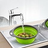 Upxiang Faltbare Küche Lebensmittel Sieb Obst Gemüse Waschkorb Silikon Sieb Abtropfsieb Gemüsekorb Mit Griff (Grün, Groß)