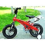 YQ Bicicleta De Bicicleta para Niños De Freestyle Boy 'para Niñas De Magnesio, 3 Colores, 12', 14', 16', con Estabilizadores, Botella De Agua Y Soporte,Red,14Inches