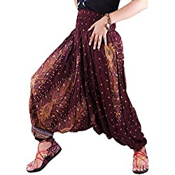 JEP01Hippy Hippie Boho Festival pavo real Genie Aladdin harén pantalones pantalones Mono marrón marrón Talla única
