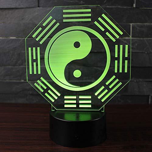Wangzj Tai Chi Acht Diagramme 3D Visuelle Illusion Lampe/Remote 7 Farbe, Schwarz Basis, Lichter Für Dekoration -