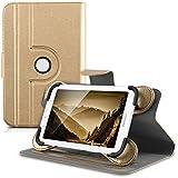 """kwmobile Funda 360° para 7-8"""" Tablet Funda con soporte - Funda protectora tablet bolso piel sintética con función de soporte en oro"""
