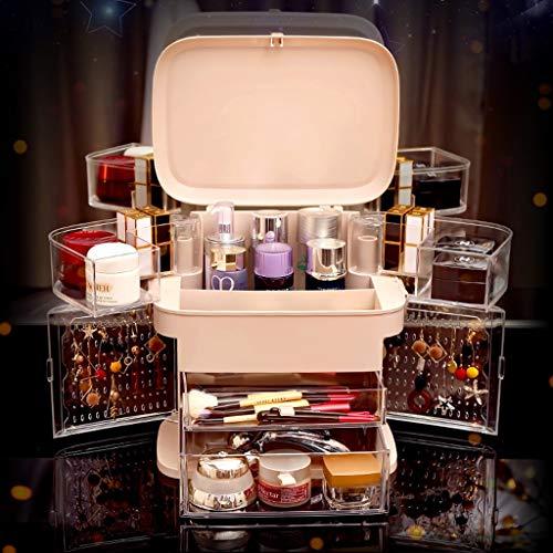 Make-up-Organizer Mit Schublade, Rotierende Faltbare Schmuck Aufbewahrungsbox Parfüm Tragbare Display Kosmetische Standbox (Color : Pink)