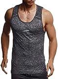 LEIF NELSON Gym Herren Fitness Shirt Top Funktionsshirt Slim Fit Seamless | Männer Bodybuilder Trainingsshirt T-Shirt Ärmellos | Jungen Sportshirt Bekleidung für Bodybuilding Training | LN8308