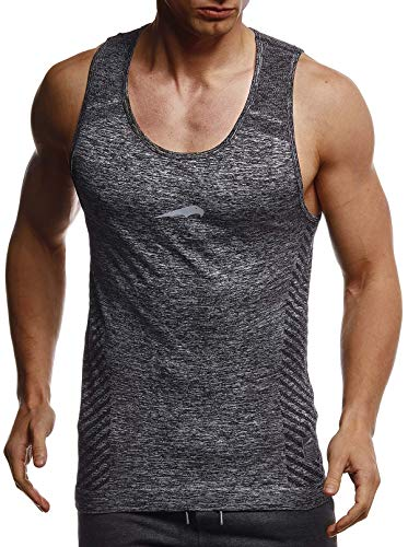 LEIF NELSON Gym Herren Seamless Fitness Sport-Shirt ohne Ärmel Top Trainingsshirt Slim Fit | Männer Bodybuilder Training Funktionsshirt | Bekleidung für Bodybuilding | LN8308 Schwarz-Reflekt Medium -