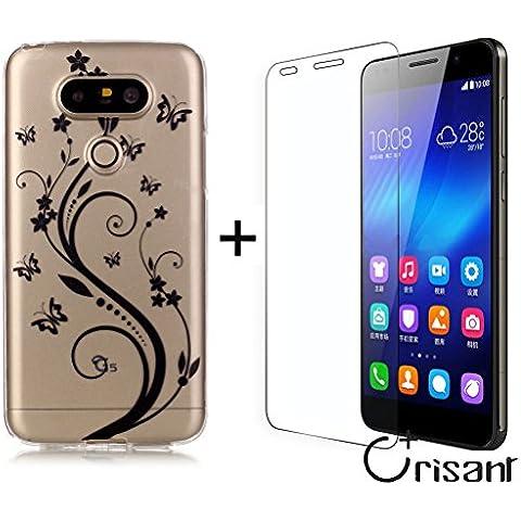 Case Cover For LG G5,Remidy fiore nero e la farfalla Soft TPU Silicone trasparente [Cristallo Paraurti] [Estremamente Sottile] [Anti-Scratch] Protective Custodia Caso Per LG G5 + UN schermo Protector vetro temperato film