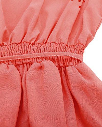 ZANZEA Femmes Eté Sexy Sans Manches Creux en Mousseline Mini Robe Cocktail Sundress Pastèque Rouge
