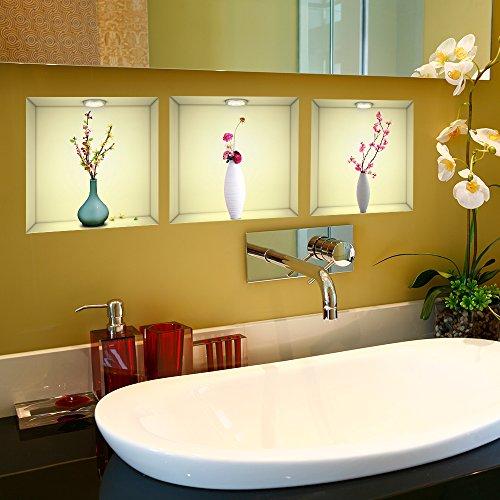 Wandsticker Kunst 3D Vase mit Blumen Wandaufkleber Abnehmbare Aufkleber DIY, Set von 3, Wohnzimmer Schlafzimmer Sofa Halle Professionelle Vinyl Tapete Upgrade -