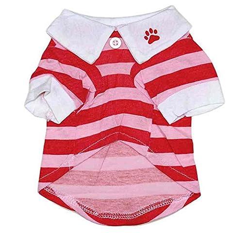 SAMGU Vetement Chien Manteau Chemise Pet Chiot De Eté Pour Chiens Chat Toutous T Shirt color rouge size Large