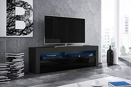 Alan - Mobile porta TV/Supporto TV/Mobile TV audio e video (160 cm, nero opaco/pannelli frontali nero lucido con luci LED blu opzionali)