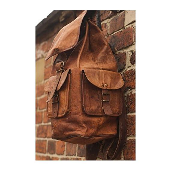 Znt Bags, Pure Vintage Handmade Leather Backpack School Travel Bag Brown
