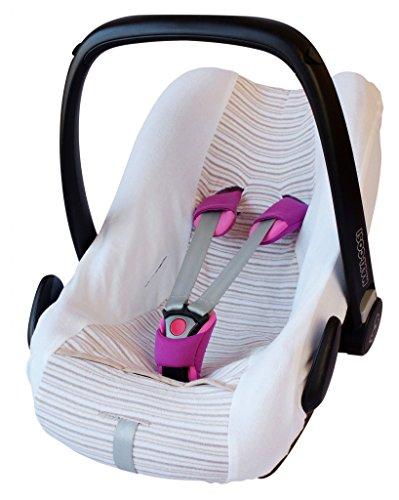 byboom-Universal Funda de verano, colchón de rizo con rayas para portabebés, Auto asiento, por ejemplo Maxi Cosi Cabrio Fix, City, Pebble; Diseñado en Alemania, fabricado en la ue, color: blanco/rayas de color beige