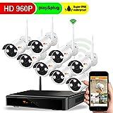 CORSEE Plug&Play wifi video Überwachungs Bausatz 8 Kanal 960P NVR 8 HD 1.3MP Funk Überwachungsset WLAN Netzwerk Außen IP Überwachungskamera, wifi cctv nvr kit,Handy-View,keine Festplatte
