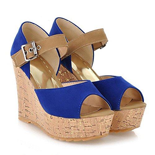 RAZAMAZA Femmes Compensees Escarpins blue