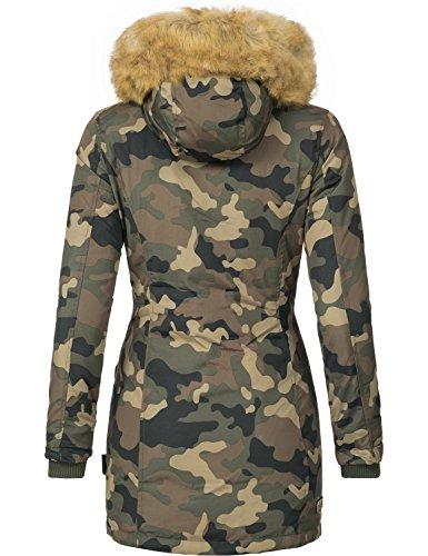 Marikoo Damen Mantel Wintermantel Winterparka Karmaa (vegan hergestellt) 11 Farben + Camouflage XS-XXXXXL Camouflage
