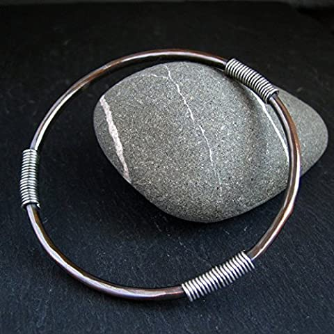 Copper Bangle with Sterling Silver Coils for Men and Women