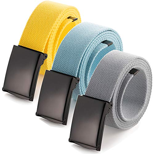 Adjustable waist belt up to 52'with solid black military buckle (3 Pack yellow / Sky blue / Gray)
