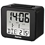 """Hama Funk-Wecker """"Cube"""" (digital, beleuchtet, automatische Zeitanpassung, ansteigender Weckton, Snooze, Temperatur-Anzeige, Batterie) Reisewecker, Funkuhr, Digitalwecker schwarz"""