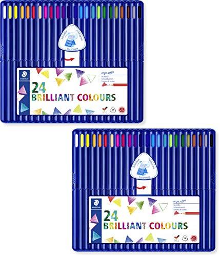 Staedtler ergosoft 157 SB24 Buntstifte, Set mit 24 brillanten Farben (2 Etuis)