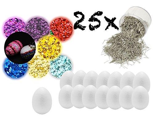 25 x uova di pasqua fai da te con 25 x 6 cm uova di polistirolo uova di pasqua, 50 gr. paillettes colorate, 50 g puntine per creazioni fai da te, spilli per decorazione con uova di pasqua