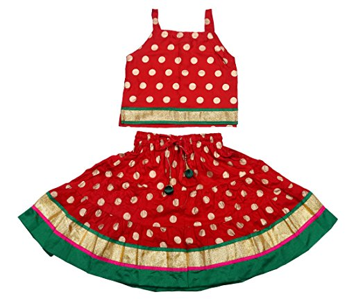 Decot Paradise Baby Girls' Rayon Printed Lehenga Choli (Red)