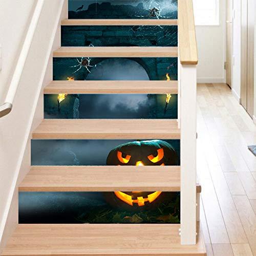 RENZHAO Treppenaufkleber 6 Stück Halloween Stereo Aufkleber 3D Grau Schloss Home Fashion Aufkleber DIY Selbstklebende Dekoration 18 * 100cm