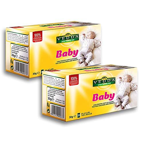 VEDDA, Thé pour Bébé | Tisane Allaitement (40 Tasses) | Tisane de Fenouil | Tisane pour Bébé, Nourrissons et Enfants | Fenouil, Camomille | 40 Sachets de Thé, Total 80g