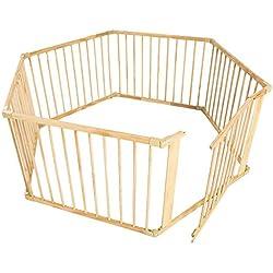 TecTake Parque para mascotas valla libre corriendo jaula para animales 6 vallas de madera