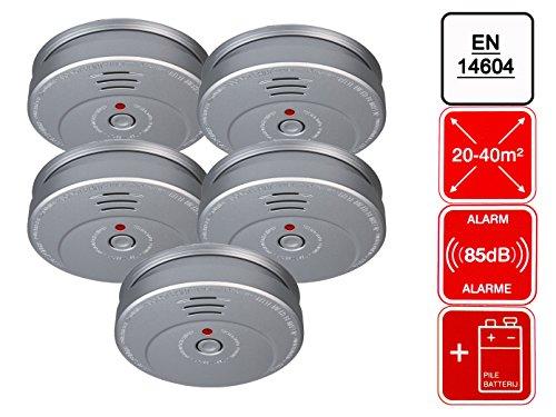 5er-Set Rauchmelder Feuermelder Aluminiumoptik, 85dB Alarm, EN14604; SMARTWARES RM149A