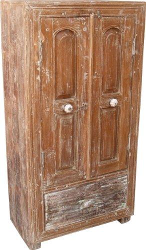 Guru-Shop Petite Armoire Blanc Antique, Armoire Côté, Commode (JH0-35), Bois, 129x65x38 cm, Armoires
