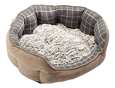 Petface Faux Moleskin Grey Check Pet Bed Bamboo Plush Cushion Dog Cat Bedding Basket (Various Sizes) by Pet Face