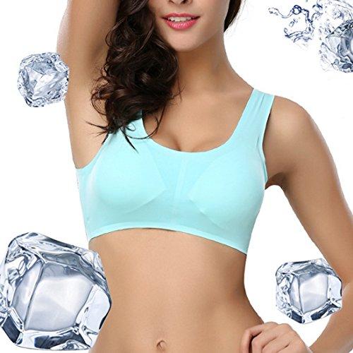 Sfit Femme Bra Brassière Soutien-gorge de Sport Push Up Sous-vêtements Sport Yoga Jogging Fitness Bleu