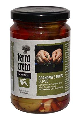 Griechische grüne Oliven Kreta Großmutters Variation mit Gewürzen + Honig im Glas 315 ml Terra...