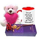 HomeSoGood I Love You To The Moon And Back My Valentine White Ceramic Coffee Mug With Teddy And Golden Red Rose - 325ml - Valentine Love Gifts best price on Amazon @ Rs. 1439