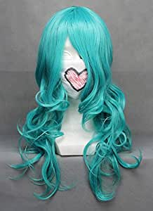 Perruque longue bleue verte 65cm frisée, cosplay sailor neptune