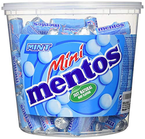 Mini Mentos Mint Classic, Eimer mit 120 Rollen Kaubonbons, Aufbewahrungsbox Minz-Dragees, Pfefferminz-Geschmack