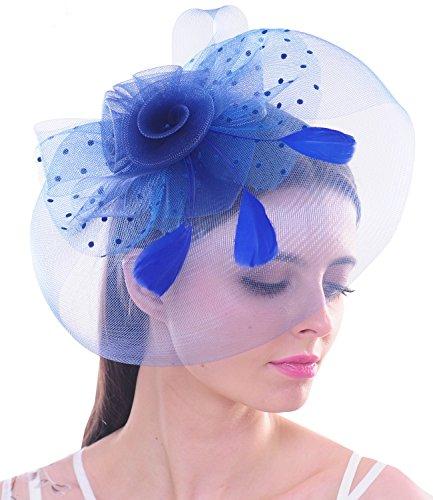 Große Feder Frau Fascinator Tupfen Blumen Ineinander Mesh Netz Haar Klipp Hut Derby (Kostüme Halloween Baby Mutter Und)