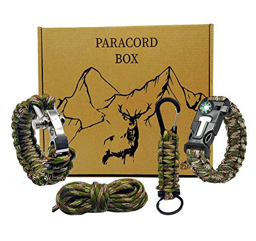 Survival Armband kit Paracord Armband | Überlebensausrüstung | Feuerstein Survival kit überlebensset | Überlebensarmband BUSHCRAFT | Paracord schlüsselanhänger | Outdoor ausrüstung Bracelet