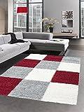 Carpetia Shaggy Teppich Hochflor Langflor Bettvorleger Wohnzimmer Teppich Läufer Karo rot grau Creme Größe 160x230 cm