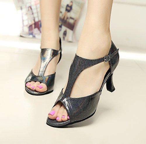 Minitoo da donna alla moda serpente T-Strap fibbia scarpe da ballo Black