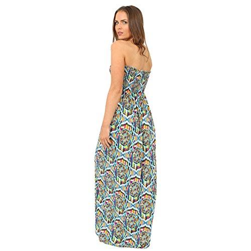 Womens Printed Sheering Sammeln boobtube Bandeau lange Sommer -trägerlose Maxikleid Strand tragen Größe 36-42 Multi Zig Zag